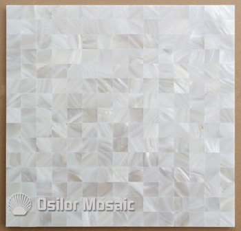 Patrón cuadrado de color blanco 100% azulejo chino natural de la madre de la perla para la decoración de la casa interior baldosa de la pared de la cáscara pulida