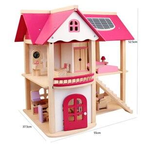 Image 5 - Maisons de poupée en bois pour filles, jouet de poupée en bois, maison pour enfants, Villa avec meubles de chambre de poupée, cadeau danniversaire, 7 kg