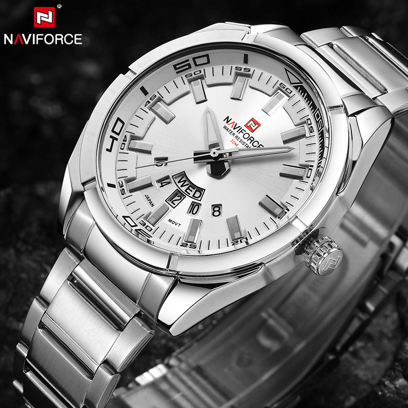 цены NAVIFORCE Brand Men Watches Luxury Sport Quartz 30M Waterproof Watches Men's Stainless Steel Auto Date Wristwatches Relojes 9038