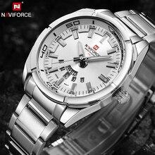 NAVIFORCE markowe zegarki męskie luksusowe sportowe zegarki kwarcowe 30M zegarki wodoodporne męskie ze stali nierdzewnej Auto zegarki na rękę z datownikiem Relojes 9038