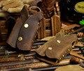 2016 Novos Homens de Alta Qualidade Couro Genuíno Do Vintage Marrom Colete Titular Da Tampa Do Caso Chave Do Carro Anel