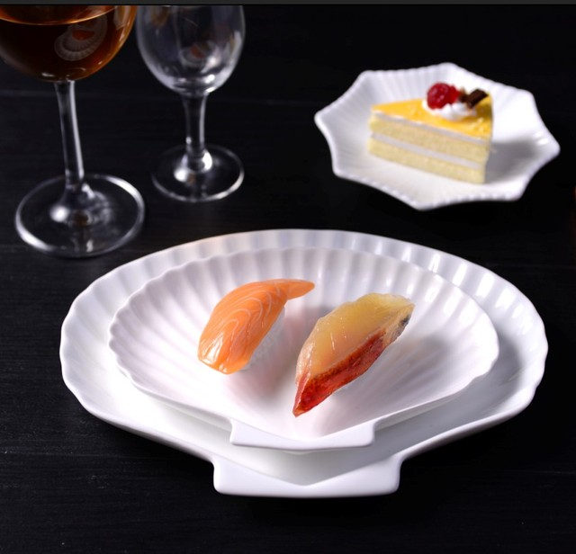 2PCS Ceramic Dishes Western Style Food Dish Plate Sushi Soup Tray Hotel Restaurant Tableware
