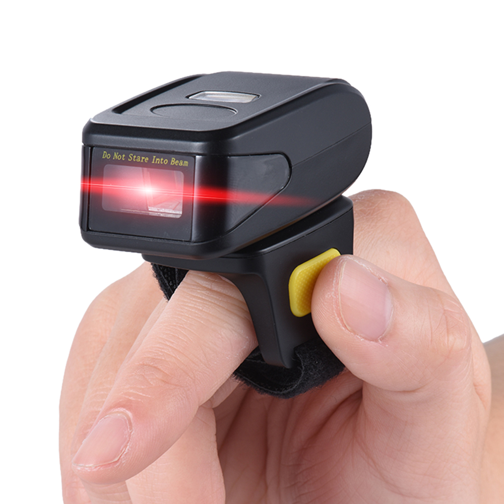 Portable Handheld Bluetooth Wireless Ring Finger 1D Barcode Scanner Reader Support for WIN10 IOS