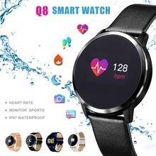 2018 Цвет Сенсорный экран Smartwatch Q8 Смарт-часы Для мужчин Для женщин IP67 Водонепроницаемый Спорт Фитнес трекер Носимых устройств электроники