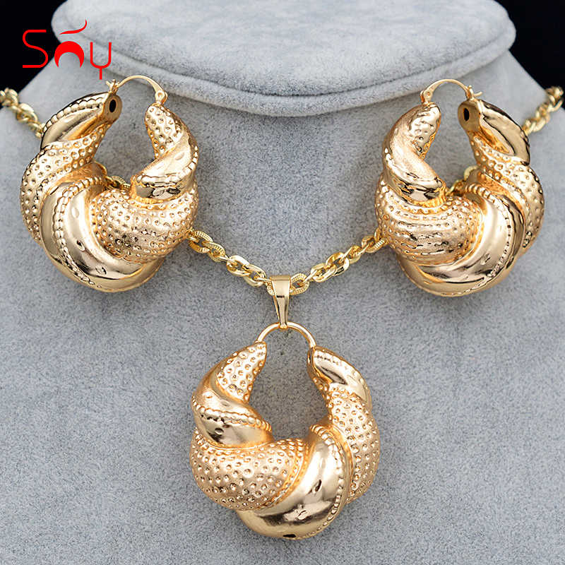 Sunny Jewelry Women Big Jewelry Sets Necklace Earrings Pendant Romantic Geometric Jewelry For Wedding Copper Jewelry Findings