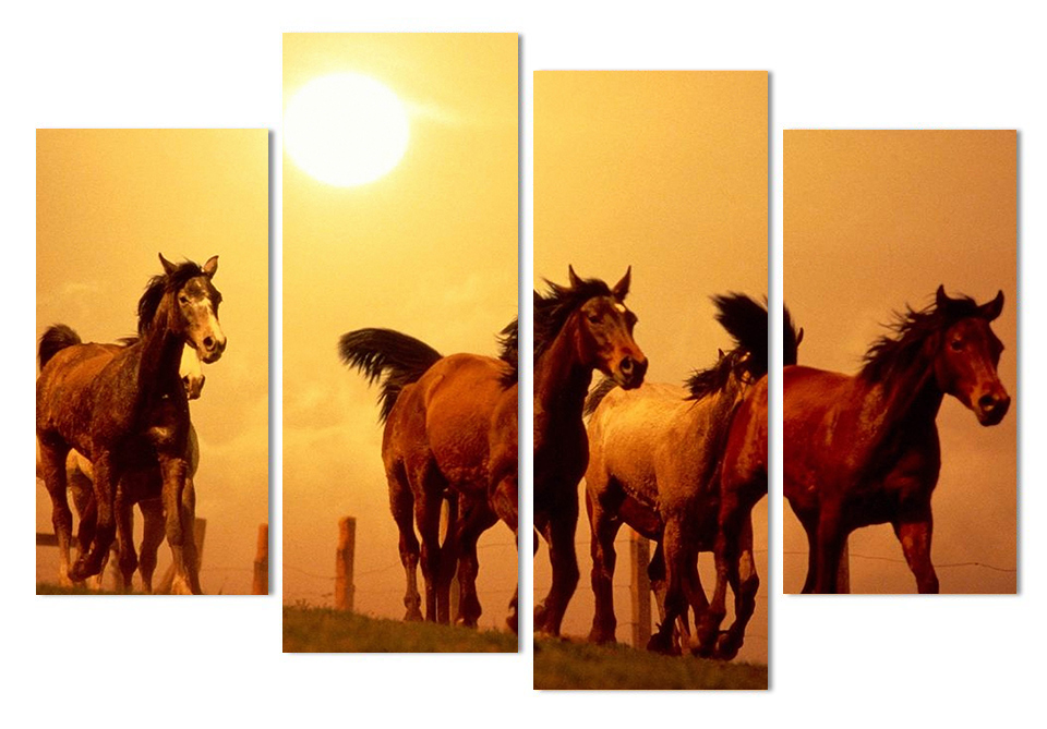 HD Printed Modular Abstract Picture Frame Canvas 4 Panel Animal Horses Sunset Farm Landscape Home Decor Wall Art Painting