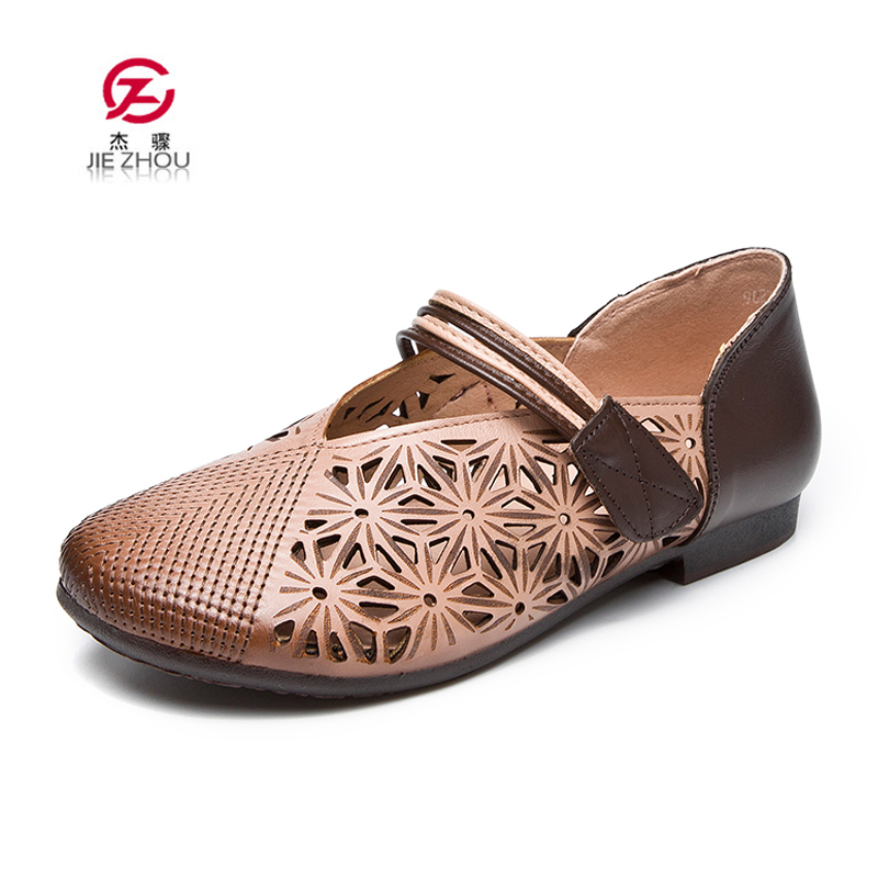 Retro Handmade Mary Janes Flats Genuine Leather Fashion Women Shoes Breathable Casual Summer shoes