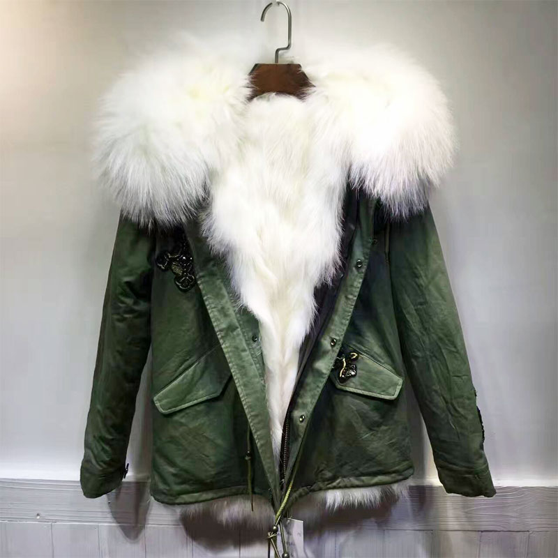 Fashion Snake Beading Green Jacket White Fox Fur Short version Jacket Women