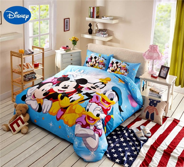 Mickey Minnie Maus Donald Duck Goofy Bettwäsche Baumwolle Cartoon