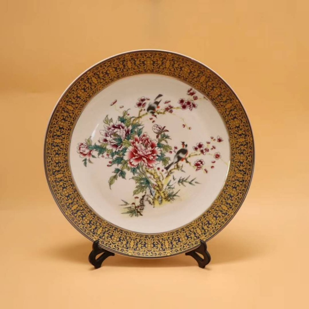 Exquisite Chinese Antique Imitation Famille Rose Auspicious Porcelain Plate ,Painted with Peony and BirdsExquisite Chinese Antique Imitation Famille Rose Auspicious Porcelain Plate ,Painted with Peony and Birds