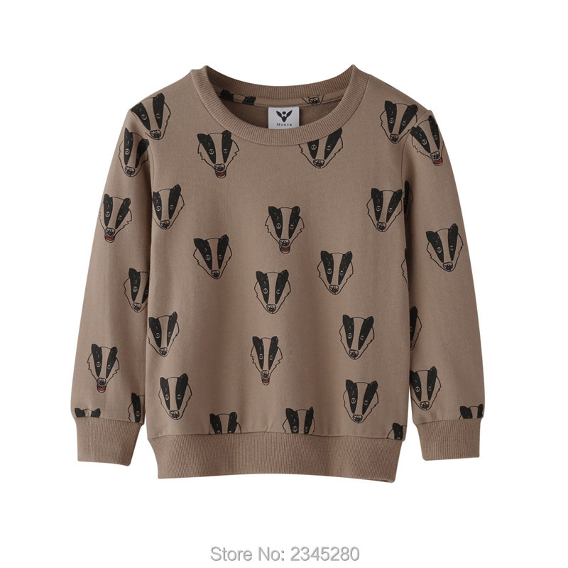 T-Shirts For Girls Boys Sweatshirt Badger Print Shirt Children Sweater Kids Bobo Choses Clothes New Year Spring 2017 Tops 3-110Y02