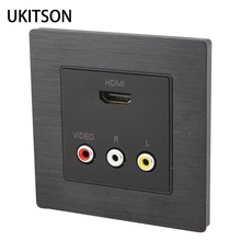 Black HDMI+RCA Wall Outlet Quality Audio Video AV Faceplate Panel 86x86mm For HDTV DVD Projector