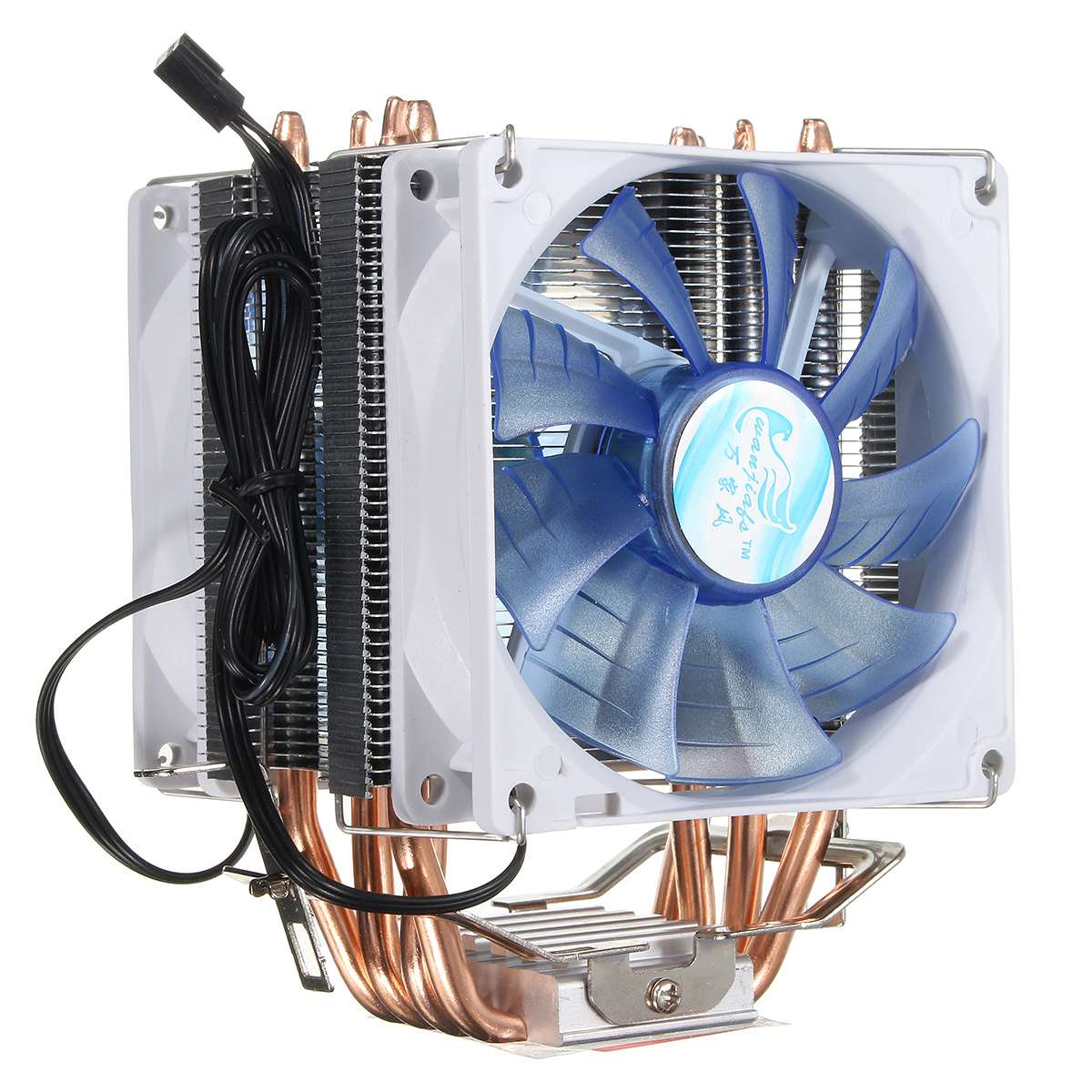 12V Dual CPU <font><b>Cooler</b></font> Fan Quiet Blue LED Light 92x92x25mm 3pin Powerful Fan Heatsink for Intel LGA775/<font><b>1156</b></font>/1155 for AMD AM2/3 image