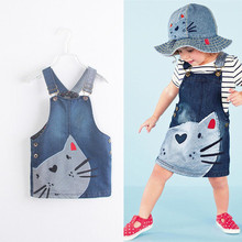 Emmababy Hot Sale Kids Baby Girls Dress Cute arrival Cat Pattern Print Summer Denim Strap High Quality Short Clothes
