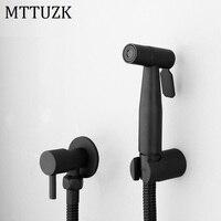MTTUZK Stainless Steel Black Bidets Bathroom Hand Shower Bidet Toilet Sprayer Hygienic Shower Bidet Tap Wall Mount Bidet Faucet