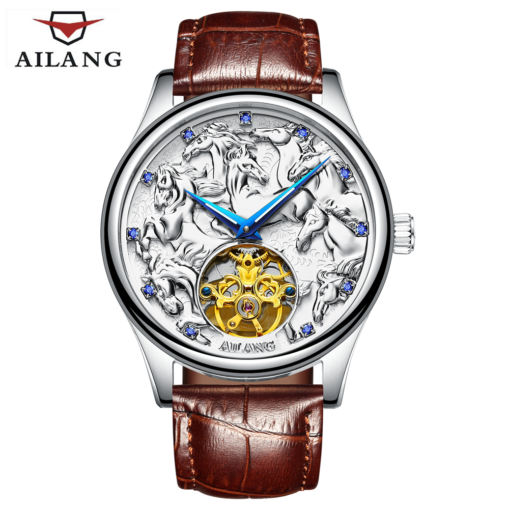 2018 Mens Automatic mechanical Watches Men Top Brand Luxury Dragon horse Pattern Dial Sport Business Leather Wrist watches soft leather mens mechanical wrist watch dragon pattern laser engraving carving gold black business men male hand wind watches
