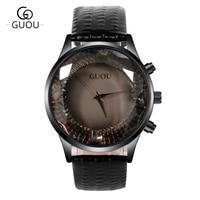 GUOU Offical Women S Watches Top Brand Luxury Diamond Watch Women Genuine Leather Ladies Watch Clock