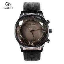 GUOU Relojes Mujeres Top Marca de Lujo de Diamantes Mujeres Reloj de Moda de Cuero Genuino Reloj de Cuarzo Colck reloj mujer relogio feminino