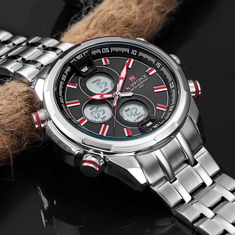 Top Brand Waterproof Luxury Men's Digital Analog Sport Military Watch Fashion Stainless Quartz Wristwatch relogio masculino ots top brand luxury analog digital digital drive analog waterproof alarm watch men quartz wristwatch sport military 8007