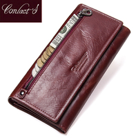 Contact's Genuine Leather Women Long Purse Female Clutches Money Wallets Brand Design Handbag for Cell Phone Card Holder Wallet