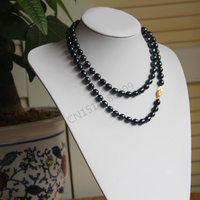 7 8mm 36inch Black Long Multilayer Pearl Necklace Pendant Women Necklace Girl Chain Party Jewelry Brand