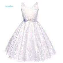 Купить с кэшбэком JaneyGao Flower Girl Dresses Children's Dress Girls Lace with Belt Dress Sleeveless Princess Dress V Neck A-line Pageant Gown