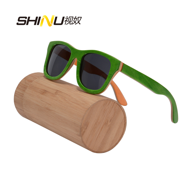 SHINU brand designer skateboard wood sunglasses polarzied real wood sun glasses women men handmade brand designer z68004 OEM