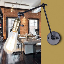 Wall light Edison light bulb long arm switch wall lamp loft American country lighting retro industry