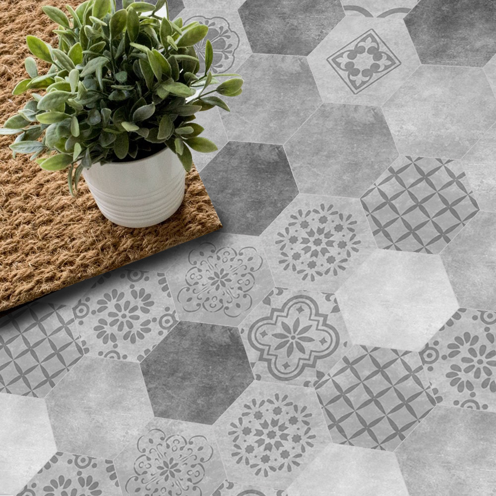 Funlife 30pcs new imitation cement tile floor porch living room Nordic wall stickers waterproof non-slip self adhesive DB087 circle