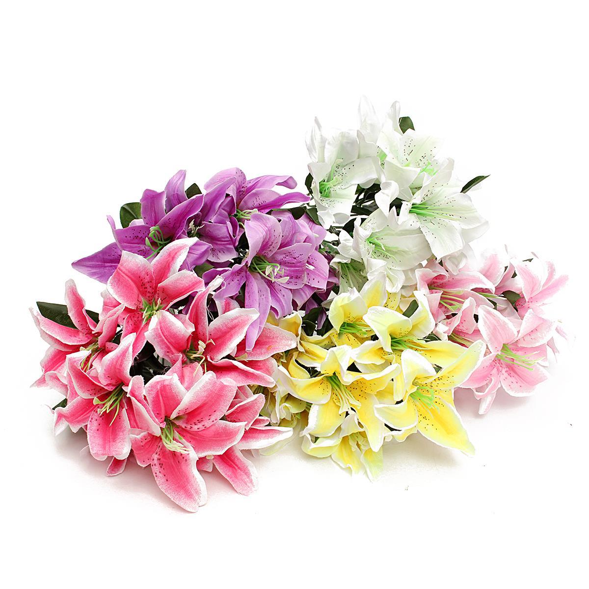 Fake flowers for crafts - 10 Heads Silk Flower Bunch Artificial Lilies Bouquet Home Wedding Garden Floral Decorative Crafts Accessories Home