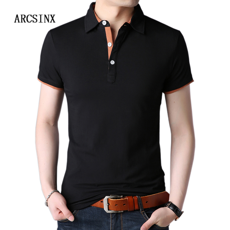 ARCSINX Black Mens   Polo   Shirts Large Size 5XL Summer   Polo   Man Short Sleeve Brand Clothing Casual Cotton   Polo   Shirt Men   Polos   4XL