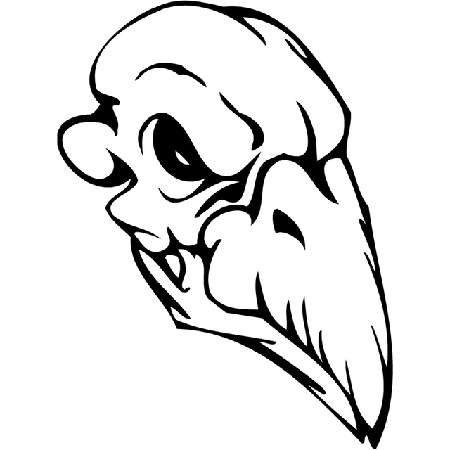 11 6x15 5cm bird monster skull cartoon car styling vinyl car stickers decal black