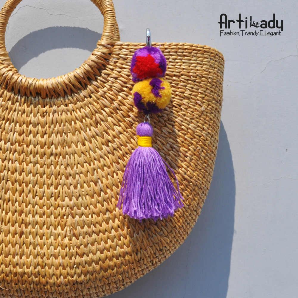 Artilady corrente chave pom pom borla charme saco keychain keyholder praia boêmio étnica jóias chaveiro para as mulheres