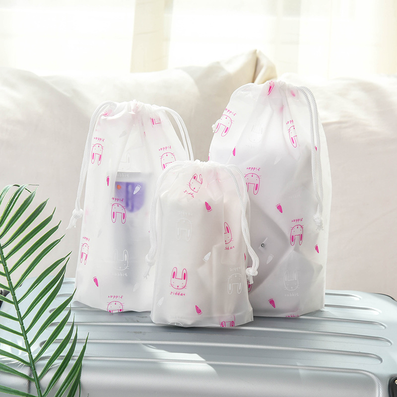 Cartoon Drawstring Bags Waterproof Travel Bag Clear PVC Wash Toiletry Kit Cosmetic Pouch Necessaries Clothes Storage Organizer
