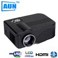AUN Projector LED 1000 Lumens Suporte 720 P 1080 P Vermelho Azul 3D Projetor + 2 pcs Azul Vermelho Óculos 3D para o Presente 3D Projetor TYYLBX9