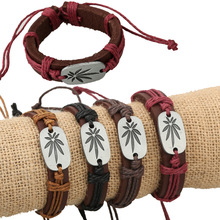 5 Colors Handmade Women Men Chic Brown Cowhide Genuine Leather Wrap Plant Canada Maple Weed Leave Bracelet Lucky Cuff Wristband(China)