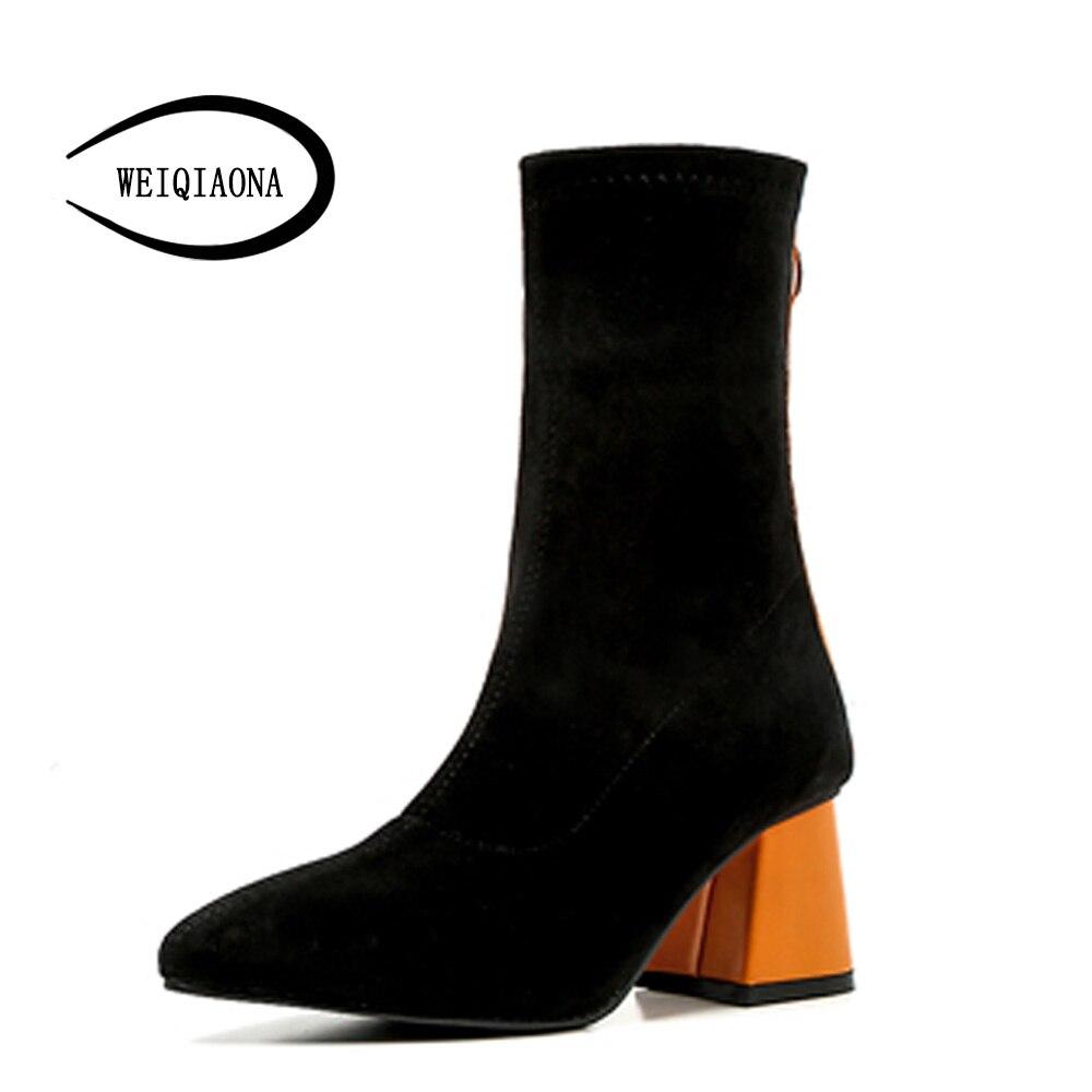 Design Shunruyan Courtes 2018 Pionted Du orange New Parti Chaussures Bottes Talons Orteil Noir Robe Brand D'hiver Femmes Haute xBedorC