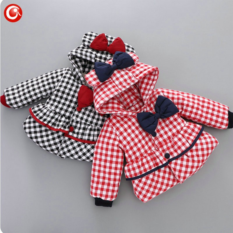 Baby Girls Winter Bow Coats Kids Hoodies Plaid Warm Snowear Clothes Infant Girl Princess Jackets&Parkas Clothing 2016 (11)