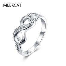 Genuine 925 stamped silver plated Jewelry Designer Brand Rings For Women Wedding Lady Infinity Ring Size 7 8(MEEKCAT MR3203)