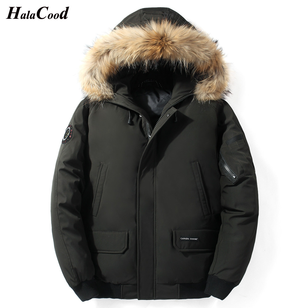 HALACOOD Fashion Fur Hooded Duck   Down   Jackets Men Warm High Quality Windproof   Down     Coats   Male Casual Winter Outerwer   Down   Parkas