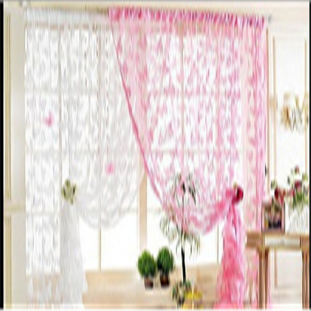 Pastoral Voile Curtains For The Living Room European Top Grade Big Flower Pattern Net