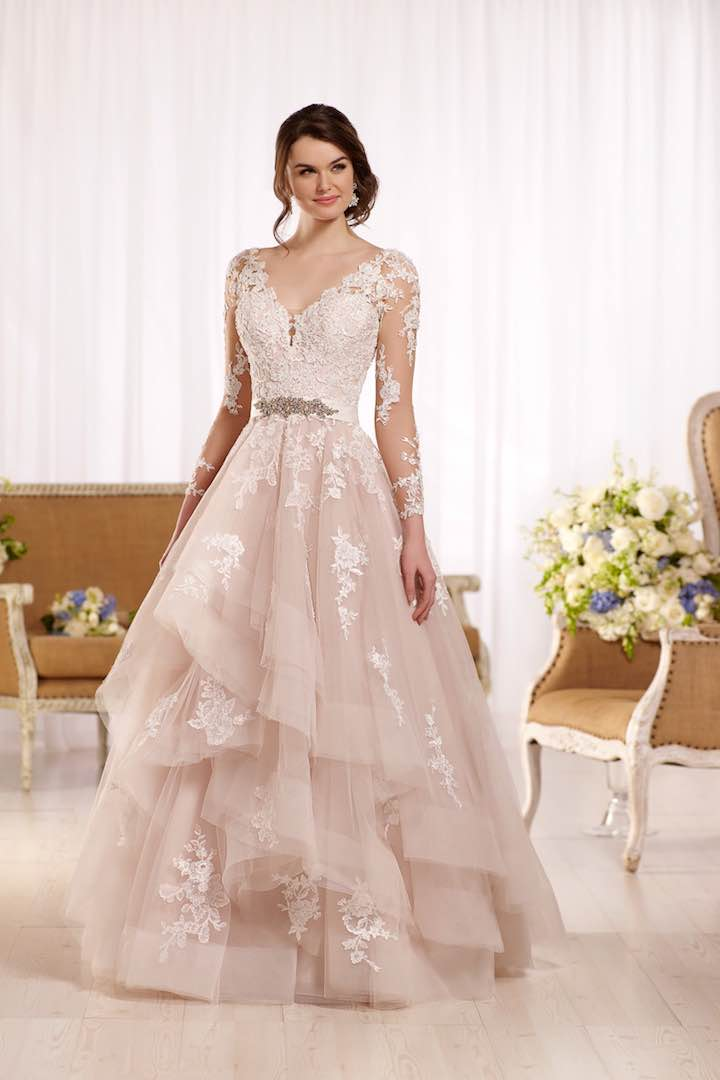 2017 Blush Wedding Dress Lace Long Sleeve Pink V neck Ruffles Bride ...