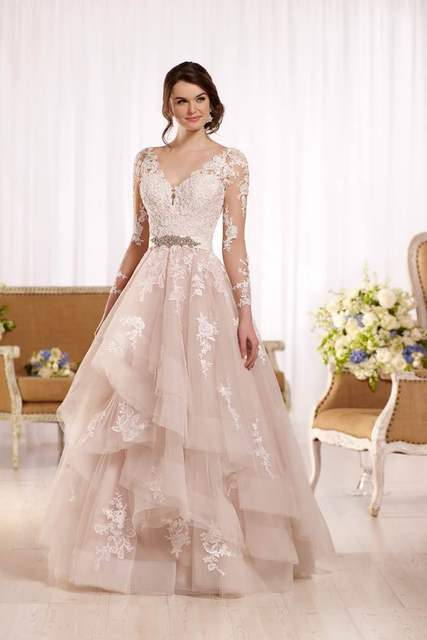 2017 Blush Wedding Dress Lace Long Sleeve Pink V neck Ruffles Bride ...
