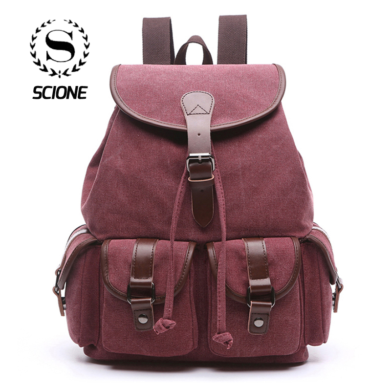 Scione New Vintage Canvas Backpacks Multifunction Drawstring Casual Travel Shoulder Bags Large Laptop School Pack For Women MenScione New Vintage Canvas Backpacks Multifunction Drawstring Casual Travel Shoulder Bags Large Laptop School Pack For Women Men