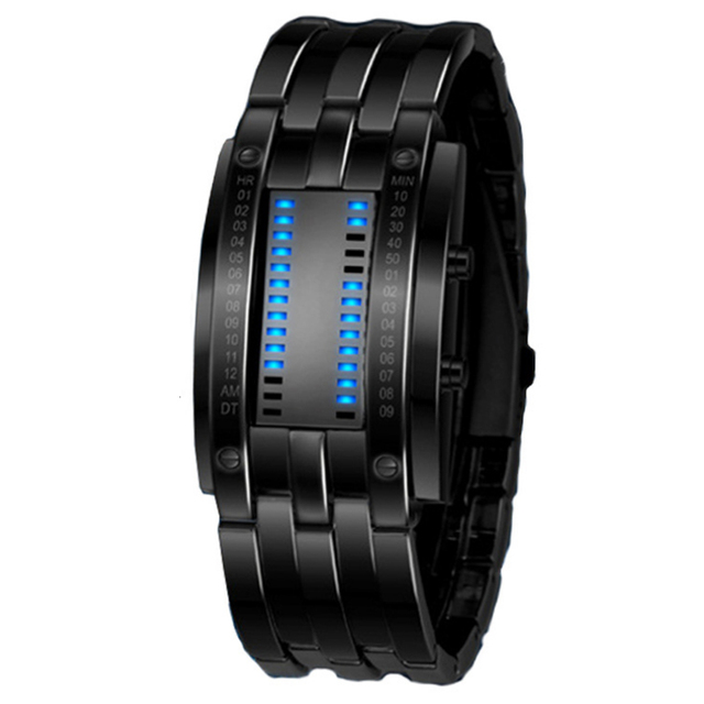 Fashion Creative Luxury Lovers' Wristwatch Men Steel blue Binary Luminous LED Electronic  Sport Watches Smart Watch