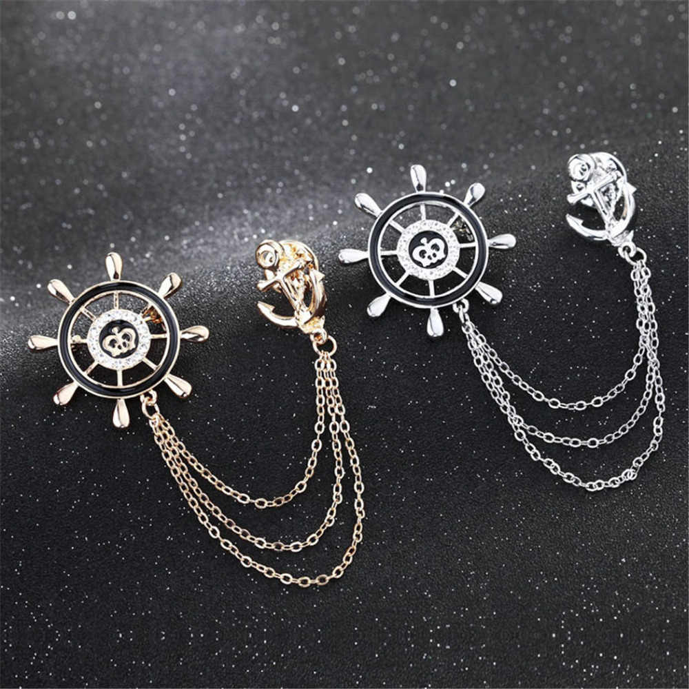 7bbcbc95e5a ... Europe Romantic Navy Men Rudder Anchor Brooch Pins Unisex Metal Chain  Corsage British Suit Badge Brooches ...