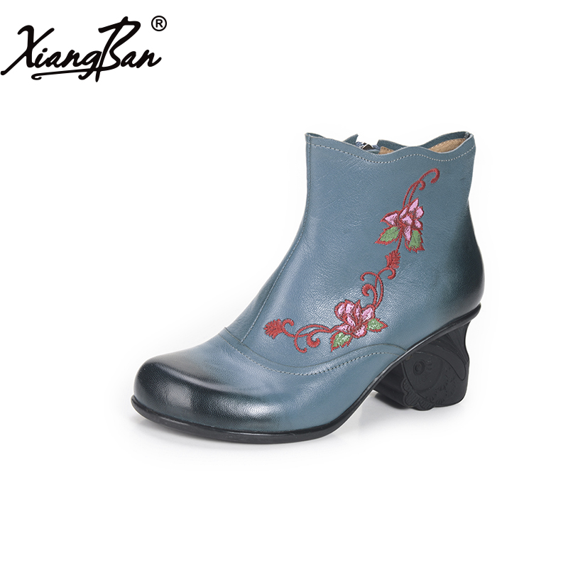 2017 Genuine leather women's shoes handmade embroidery flower national trend high-heeled round toe ankle boots comfortable a three dimensional embroidery of flowers trees and fruits chinese embroidery handmade art design book