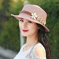Летние женские - вс-затенение шляпа анти-уф шляпа пляж крышка большой солнцезащитный крем strawhat цветок strawhat