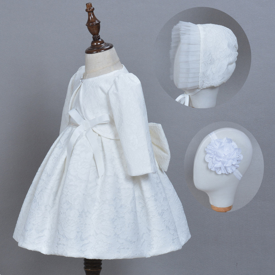 Baby Girls Elegant Communion Dresses with Hat Lace Baby Girls Birthday Dress Princess White Party Wedding Dress Christening Gown