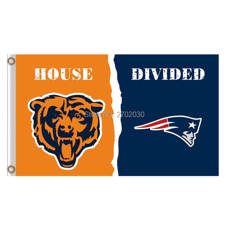 Chicago Bears Flag Vs New England Patriots Banners Football Team Flags 3x5 Ft Super Bowl ...